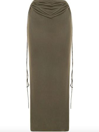Drawstring Ruched Midi Silk Skirt