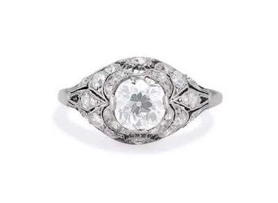 Belle Époque 1.04 Carat Old European Diamond & Platinum Bombé Engagement Ring