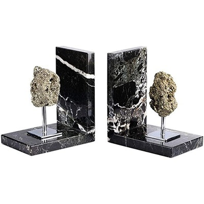 AMOYSTONE Black Marble And Pyrite Bookends