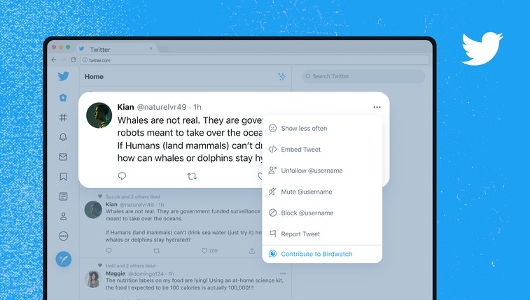 Render of the Birdwatch note option on Twitter