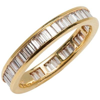 Eternity Baguette Cut 1.57 Carat Diamond Band Ring in 18 Karat Yellow Gold 1980s