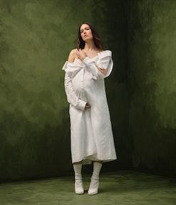 Mandy moore wearing a white fendi dress