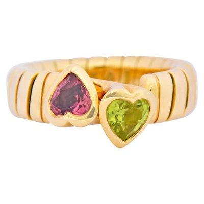 Bulgari 1.50 Carat Pink Tourmaline Peridot 18K Yellow Gold Heart Ring