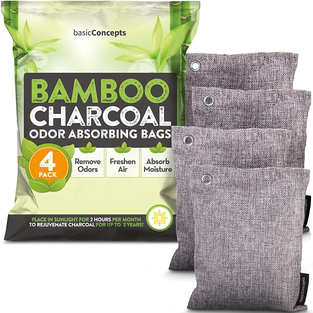 BASIC CONCEPTS Bamboo Charcoal Air Purifying Bags (4-Pack)