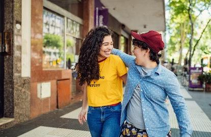 Lesbian couple on city break