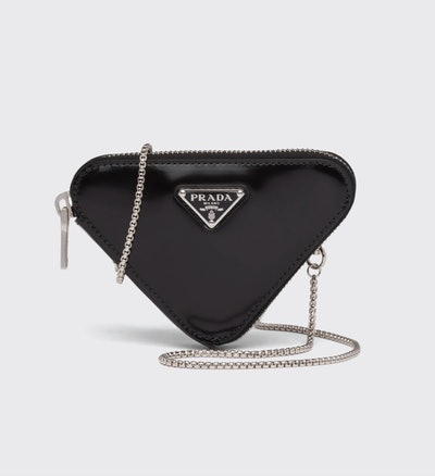 Triangle Calfskin Pouch Necklace Charm Bag