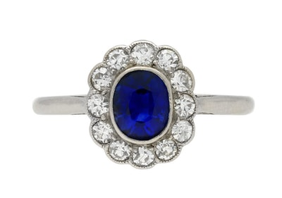 Edwardian Sapphire and Diamond Coronet Cluster Ring, Circa 1910