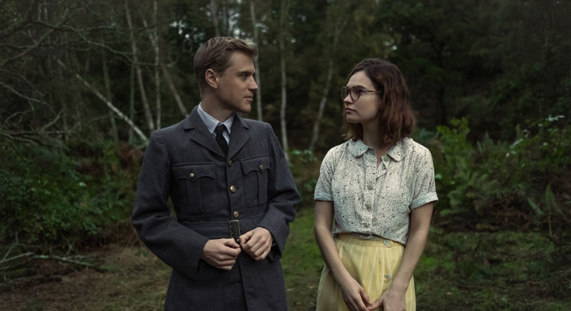 Johnny Flynn and Lily James in 'The Dig,' via the Netflix press site.