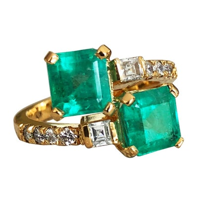 """Colombian Emerald Diamond Bypass """"Toi et Moi"""" Ring (Price Upon Request)"""