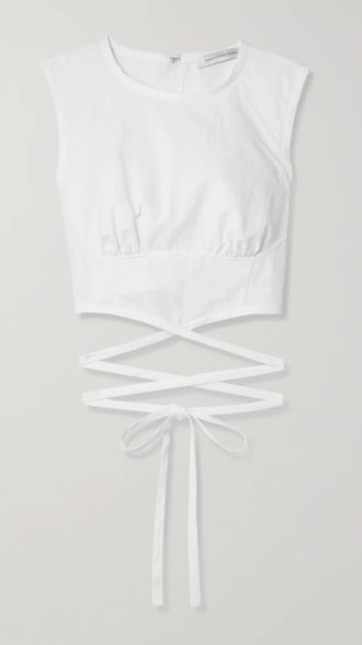 Lace-up cropped poplin top
