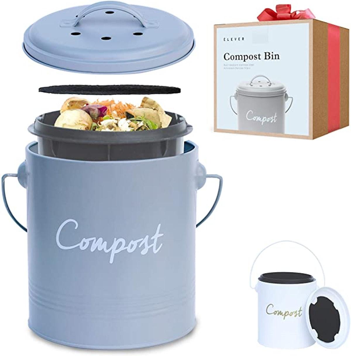 Elever Stainless Steel Indoor Compost Bin