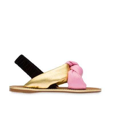 Padded Nappa and Velvet Flat Sandals