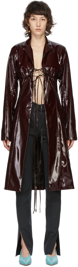 Burgundy Vinyl Bra Coat