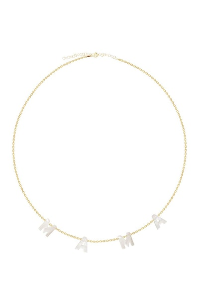 Gab + Cos Designs 14K Gold Plated Mother of Pearl Mama Necklace