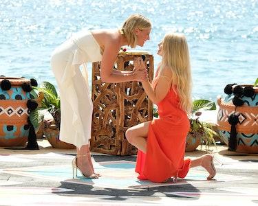 Kristian Haggerty, left, with Demi Burnett on Bachelor in Paradise.