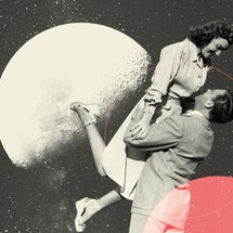 retro couple in love in front of planets