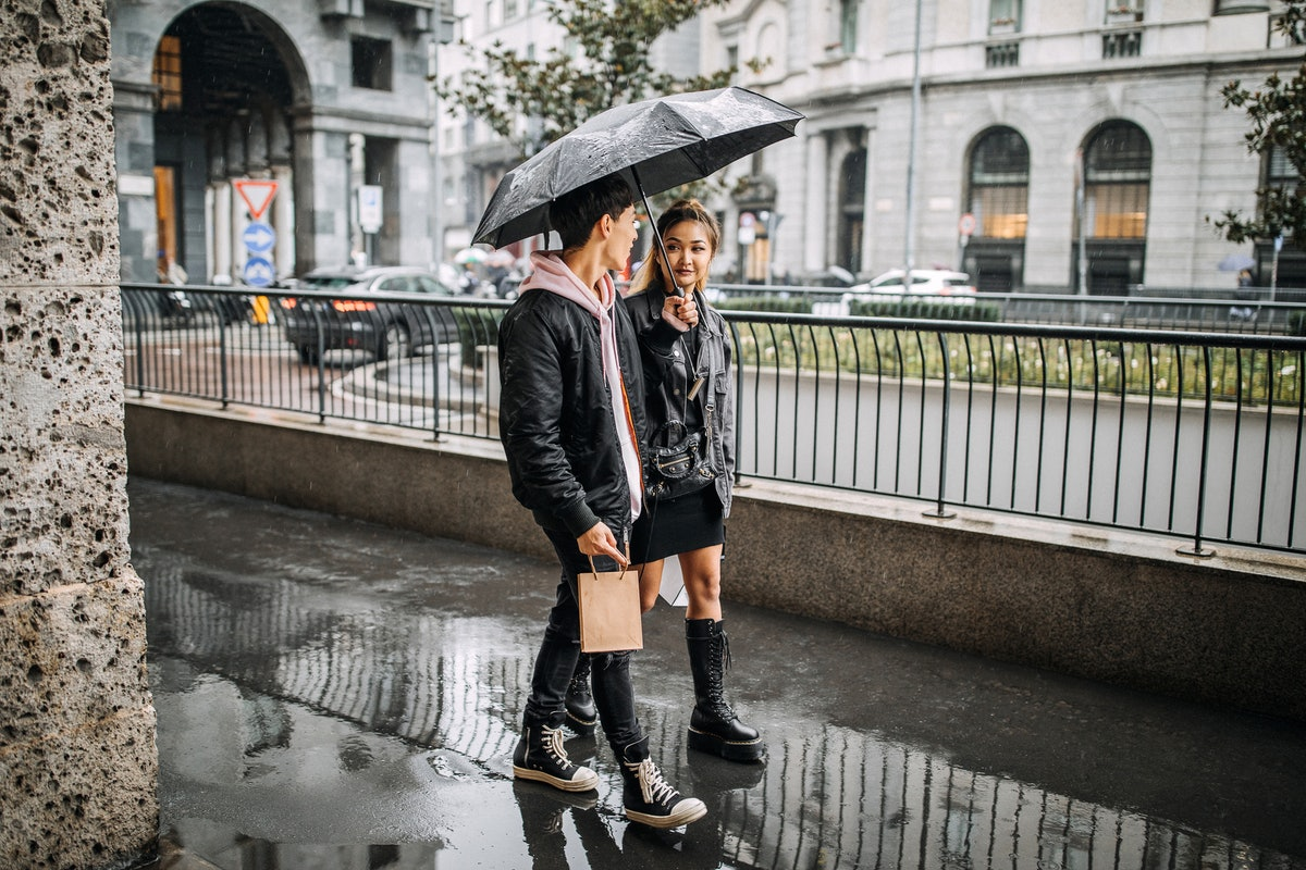 Young Asian couple in the rain