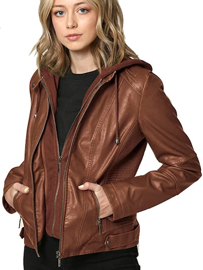 Lock and Love Faux-Leather Quilted Motorcycle Jacket with Hood