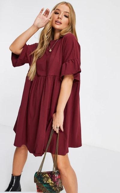 ASOS DESIGN Super Oversized Frill Sleeve Smock Dress in Burgundy