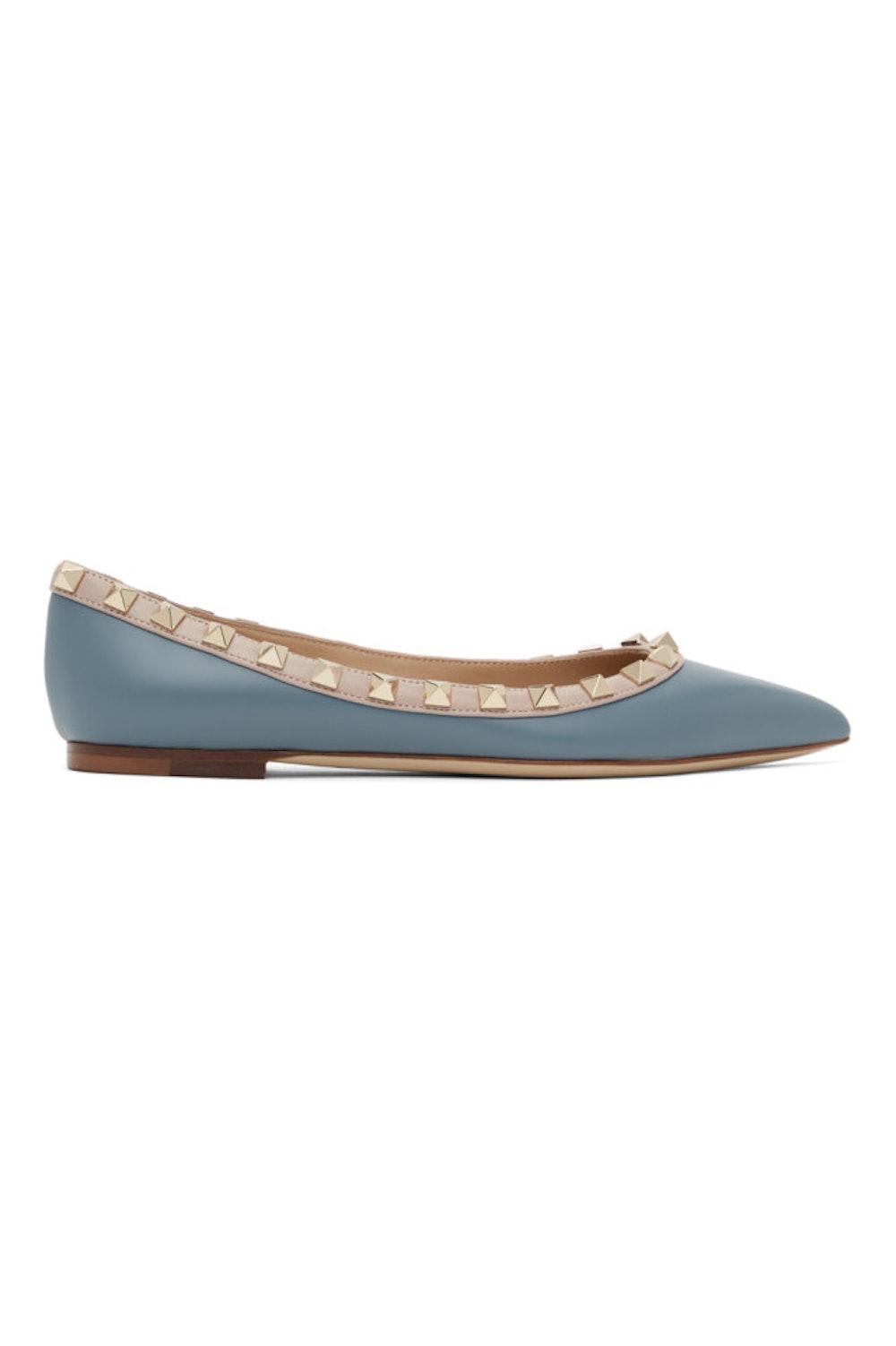 Blue Valentino Garavani Rockstud Ballerina Flats