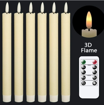 GenSwin Flameless Ivory Taper Candles (6-Pack)