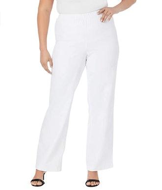 Roamans Women's Plus Size Wide-Leg Pull-On Stretch Jean