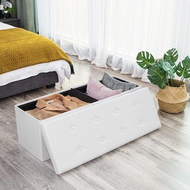 SONGMICS Faux-Leather Folding Storage Ottoman Bench