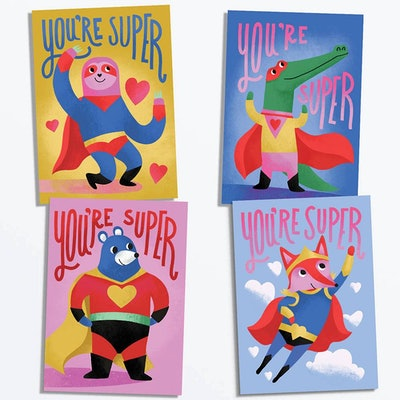 Superheroes Valentine Card Set Of 28