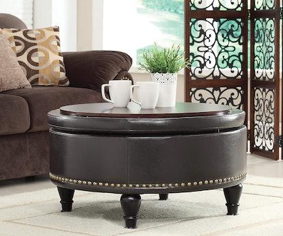 OSP Home Furnishings Augusta Eco-Leather Round Storage Ottoman