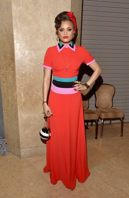 Andra Day attends the 2016 Pre-GRAMMY Gala and Salute to Industry Icons honoring Irving Azoff at The Beverly Hilton Hotel on February 14, 2016 in Beverly Hills, California.