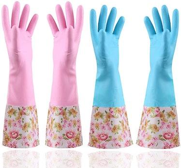 KINGFINGER Rubber Latex Waterproof Dishwashing Gloves (2 Pairs)