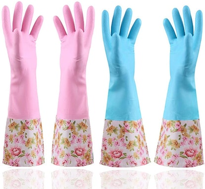 KINGFINGER Rubber Latex Waterproof Dishwashing Gloves (2 Pairs)