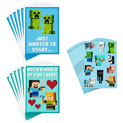Minecraft Kids Assorted Valentines With Stickers, Pack Of 12