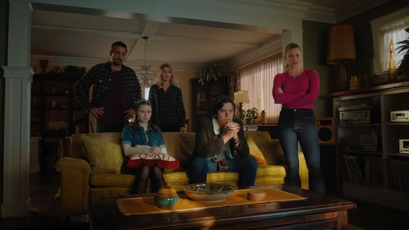Jughead, Betty, Jellybean, FP, and Alice watch a tape from the Auteur on 'Riverdale'
