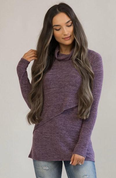 Nursing Sweater With Asymmetrical Flap