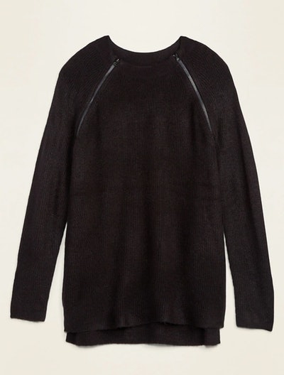 Maternity Rib Knit Nursing Tunic Sweater