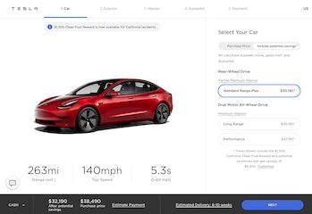 Tesla's configurator.