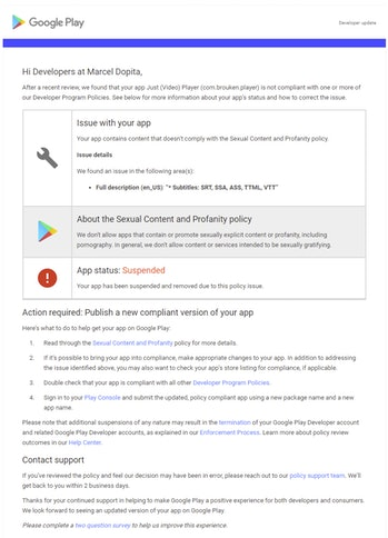 Google erroneously removed a developer's app from the Play Store after the subtitle filetype .ass was added to its description.