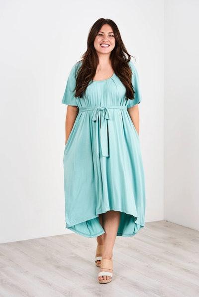 Flutter Sleeve Pleated Nursing Dress
