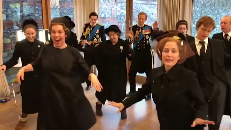 Cast of 'The Crown' dancing to Lizzo. Photo via NBC