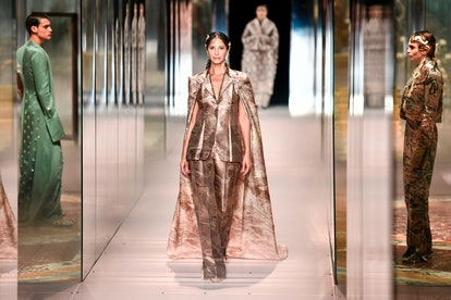 Christy Turlington walks in Fendi's Spring/Summer 2021 Couture Show presented by Kim Jones.