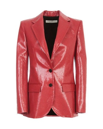 Red Faux-leather Blazer