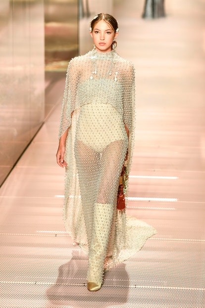 Lila Grace Moss-Hack walks in Fendi's Spring/Summer 2021 Couture show presented by Kim Jones.