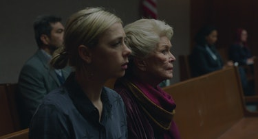 Martha, played by Vanessa Kirby, and her mother, Elizabeth, played by Ellen Burstyn, sit at the hearing for Martha's homebirth midwife.
