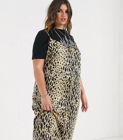 ASOS Curve midi cami slip dress in leopard print