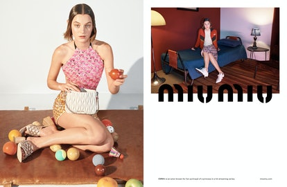 Actor Emma Corrin stars in Miu Miu's Spring/Summer 2021 Campaign.