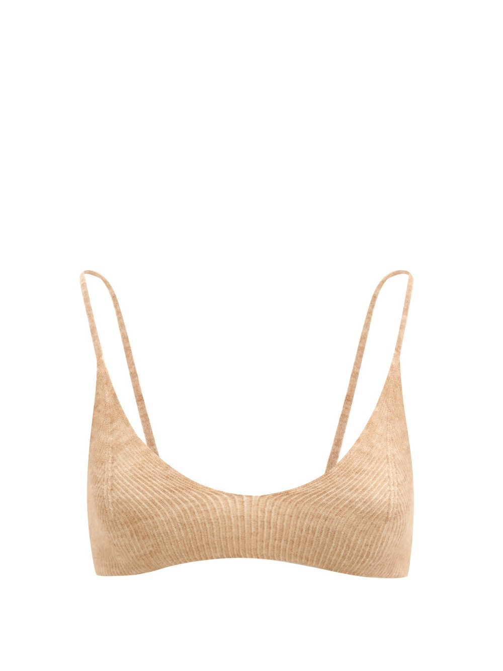 Valensole V-neck rib-knitted bra top