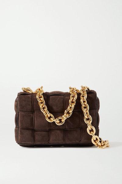 Bottega Veneta Cassette Chain-Embellished Padden Intrecciato Suede Shoulder Bag