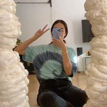 A TikToker makes a DIY foam mirror.