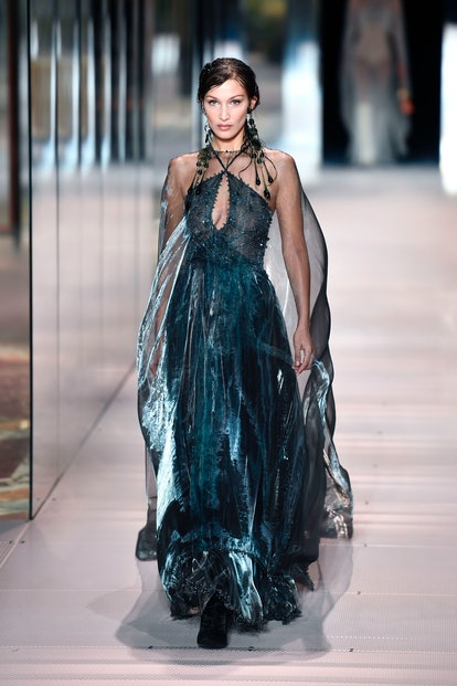 Bella Hadid walks the runway for Fendi's Spring/Summer 2021 Couture show presented by Kim Jones.